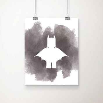Watercolor Splash Batman Art Print - Children's Art - Playroom Art - Wall Art