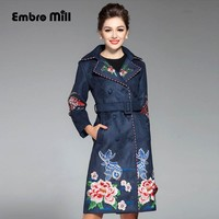 Women runway fashion autumn winter royal embroidery trench coat vintage plus size turn-down collar elegant lady coat M-XXXL