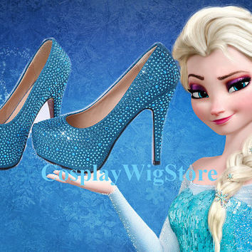 Frozen High Heels Snow Queen Elsa High Heels Princess Shoes Elsa Costume Cosplay Shoes
