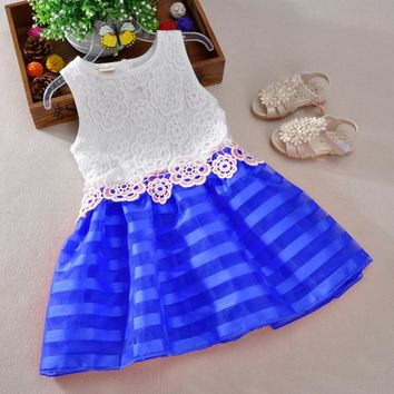 New Cute Fashion Girls dress kids baby girl clothes vestidos lace wedding Girl princess dress girl children party dresses 2-6Y