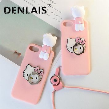 For Huawei Honor 6A Case Cute 3D Pink Hello Kitty Cat Skin Cover Silicon Holder Phone Case For Huawei Honor 6 A Back Cover Coque