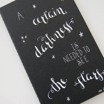 A Certain Darkness Large Moleskine Cahier, Oshu, Calligraphy