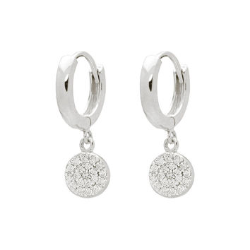 Silver Rhodium Plated Huggies Earrings with 8mm Disc Hanging Pave Cz