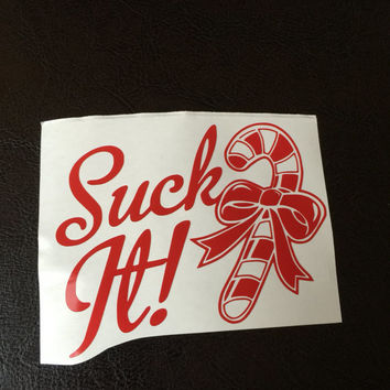 Suck It Candy Cane Decal Any Color Any Size Christmas