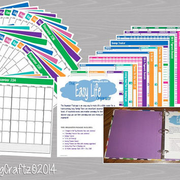 The EASY Life Organizer Package - Kit contains 38 page PDF - INSTANT Download - Printable Planner, Monthly Calendar, Budget, Spending, Etc!