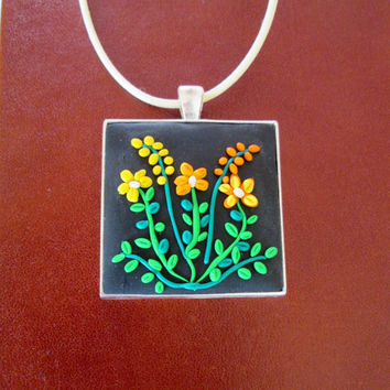 polymer clay jewelry,floral necklace,multicolor necklace,vintage cameo necklace,retro necklace,artisan pendant,flower necklace,gift for mom