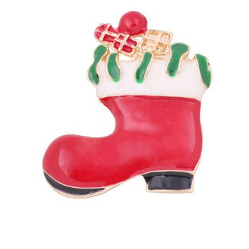 Christmas Gifts Nice Red Shoe Boot Brooches Pins for Women Full Rhinestones Christmas Brooches for the New Year #45