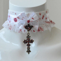 Kitten play collar - The Exorcist - white gothic choker necklace with artificial technical blood painted on it