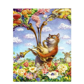 Frameless Music Cat Diy Painting By Number Modern Wall Art Canvas Painting Acrylic Paint Unique Gift For Home Decors