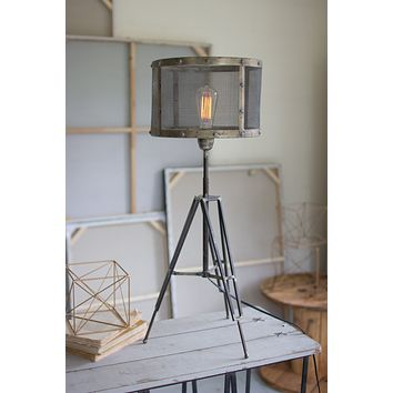 Industrial Table Lamp with Metal Tripod Stand - Wire Mesh Shade