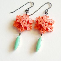 Coral Carved Flower Earrings Vintage Floral Celluloid Coral Turquoise | EcoRetroBling - Jewelry on ArtFire