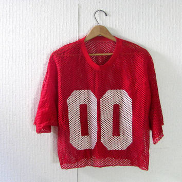 Vintage mesh cropped football jersey // athletic sports muscle shirt // fishnet // Double 00