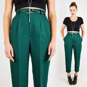 vintage 80s green HIGH WAIST SKINNY pants / skinny high waist pants / high waisted pants / pleated trouser pants / green dress pants / s