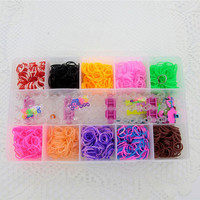 3200pcs Bands DIY Silicone Rubber Elastic Bands Bracelet Loom Bands kits Bracelets Set Kit Box RL-0003