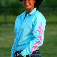 TURQUOISE RODEO SHIRT WITH NEON PINK FEATHERS