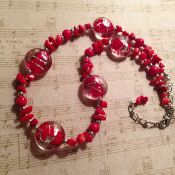 Chunky Red Asian-Inspired Necklace, Handmade Adjustable Red and Silver Beaded Necklace