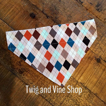 Argyle Over Collar Dog Bandana| Dog Scarf| Pet Bandana|Pet Bandana| Slip on Bandana|Sale| Last Chance