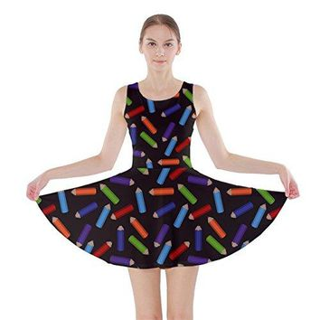CowCow Womens Colored Rainbow Pencils Pattern Skater Dress