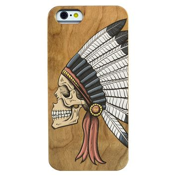 Indian Skull Wooden Phone Case Phone