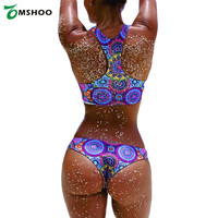 Sexy Bikinis Women Circle Geometric Print Triangle Bikini Set Swimsuit Padded Bathing Suit Two Piece Swimsuit Plus Size Swimwear