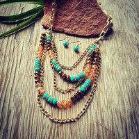Tri Colored Layered Beaded Necklace