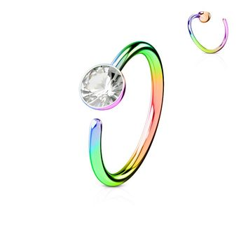 Rainbow 20GA Titanium IP Nose Hoop Ring
