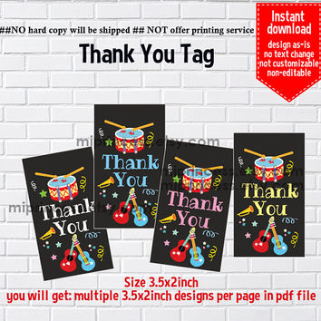 Instant Download, instruments Music Party , drumb,  gfit tag, Thank you TAG, 3.5x2inch printable , non-editable NOT CUSTOMIZABLE