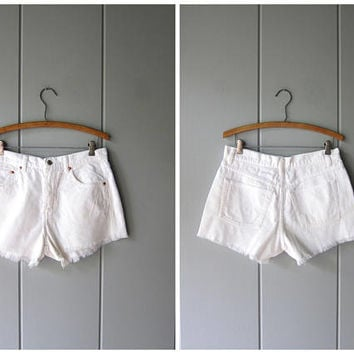 White Cord 90s Shorts High Waist Cut Of Shorts Vintage Corduroy Shorts Boho Hipster Preppy White Minimal Cotton Shorts Womens 9/10 Medium