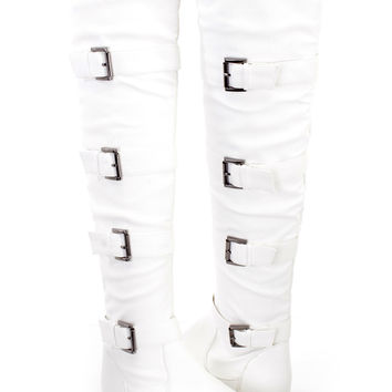 White Strappy Thigh High Riding Boots Faux Leather