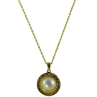 """18"""" Sterling Silver / Gold Plated 9-9.5mm Freshwater Pearl Pendant"""