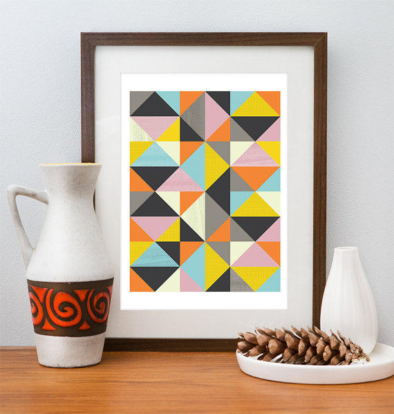 Scan Design Wall Art : Abstract print geometric art mid from handz on etsy