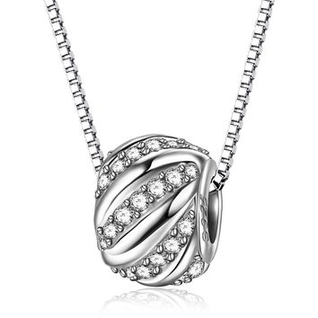 "925 Sterling Sliver Necklace Women ""Shining Galaxy"" 3A Zirconia Sliver Charm Bead Pendant Necklace with 45cm Italy Box Chain,Valentine's Day Gifts"