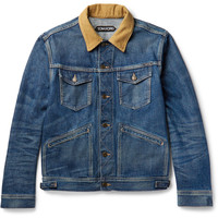 TOM FORD - Corduroy-Trimmed Selvedge Denim Jacket