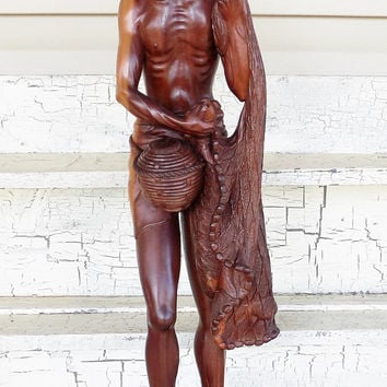 Asian Carved Wood Fisherman, With Fishing Net, Beautiful Red Wood, Large Wood Figurine
