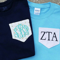 Monogram Pocket Tee. Several colors and fabrics to choose from. You can choose a name, fabric, or initials.