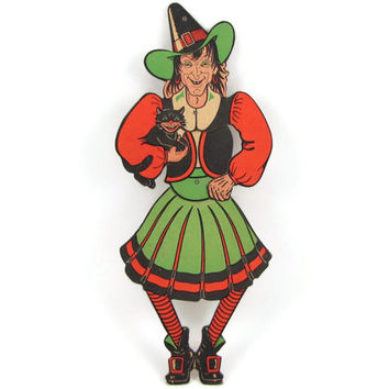 Witchy Woman - Vintage 1950s Diecut Paper Halloween Decoration, Articulated Witch Figure Holding Evil Black Cat, Dancing a Jig