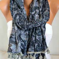 Gray Floral Soft Scarf,Summer Shawl, Cowl Beach Wrap Gift Ideas For Her Women Fashion Accessories Women Scarves,Teacher Gift  Ask a question