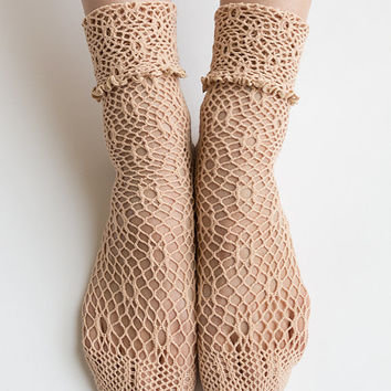 Women New Hezwagarcia Cute Cozy Knit Mesh Hole Net Beige Color Bright See Through Ankle Socks Stocking