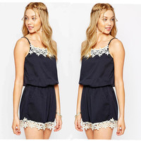 England Style Spaghetti Strap Chiffon One-piece Embroidery Lace Mosaic Summer Romper [6033568065]
