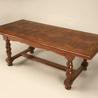Vintage French Walnut Dining Table or Desk with Parquetry Top