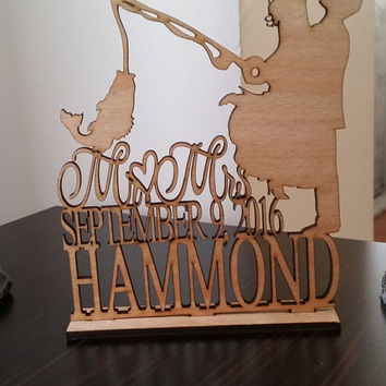 Wedding Couple Fishing Pole Heart - Unique Wedding Cake Topper - Rustic Cake Topper - Custom Personalized Wedding Cake Topper