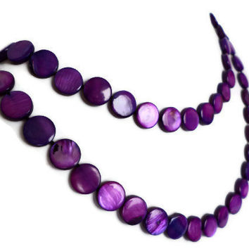Deep Purple Extra Long Shell Pearl Necklace