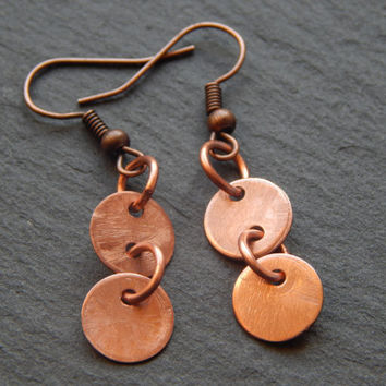 Sweet Little Copper Disc Dangle Earrings - Unique Handmade Earrings - Copper Jewelry - Copper Earrings - Copper Dangle Earring -Disc Earring