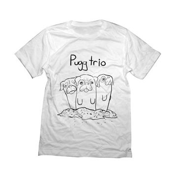Pugg Trio Tshirt | Black Pug T Shirt | Animal Clothing