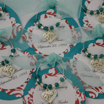 Customized Heart Wine Charm Favors Wedding Rehearsal Dinner Bridal Shower Baby Shower Special Event