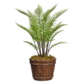 "50"" Artificial Fern Plant Indoor/ Outdoor with Burlap Kit in 16"" Wood Trunk Planter in Brown/ Black Fiberstone"