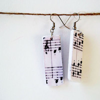 Music notes earrings, decoupage paper jewelry, vintage music sheet jewelry, recycled book, music lovers gift, eco friendly jewelry