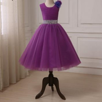 Flower Girl Dresses Tulle Floor Length Ball Gowns Kids Pageant Dress Beads Sequin Crystals Girl Gowns