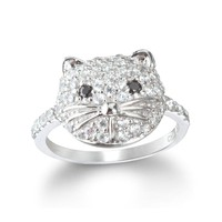 Sterling Silver White and Black CZ Cat Ring