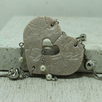 Friendship belly ring 3 piece set Polymer clay heart